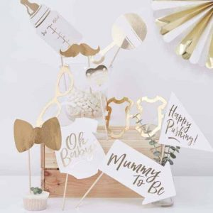 Gold foiled babyshower props