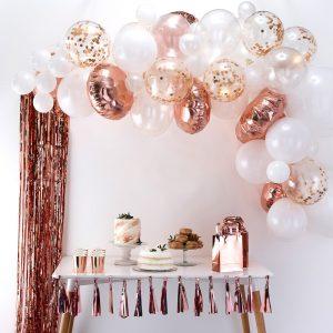 Ballonnnenboog rose goud bruiloft kopen decoratie