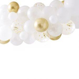 Ballonenboog kit goud wit confetti
