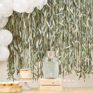 Backdrop bladeren botanisch huwelijks photobooth