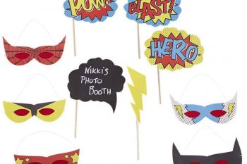 Photo booth props comic super hero