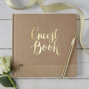 Gastenboek bruiloft kraft met gouden letters