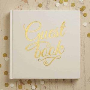 Gastenboek bruiloft goud ivoor receptie