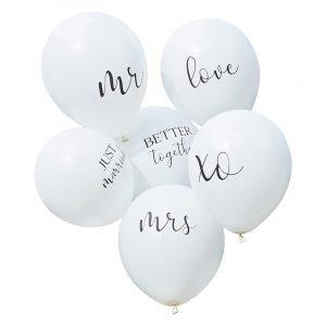 trouwballon wit 6 ballonnen