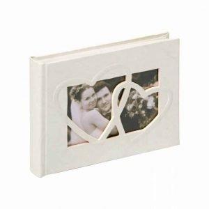 Gastenboek bruiloft wit met harten kaft